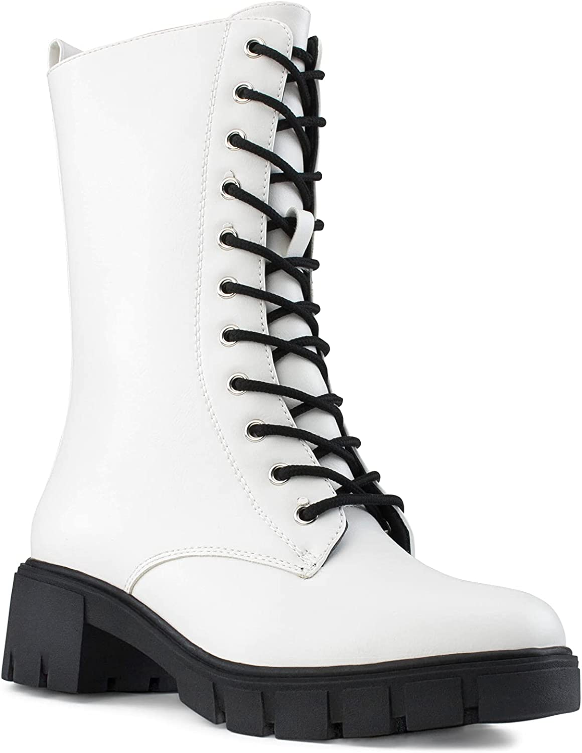RF ROOM OF FASHION Women's Lug Sole Combat Ankle Mid Calf Boots