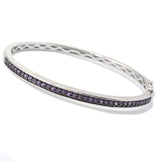Sterling Silver 1.18ctw African Amethyst Bangle Bracelet SZ 7.25