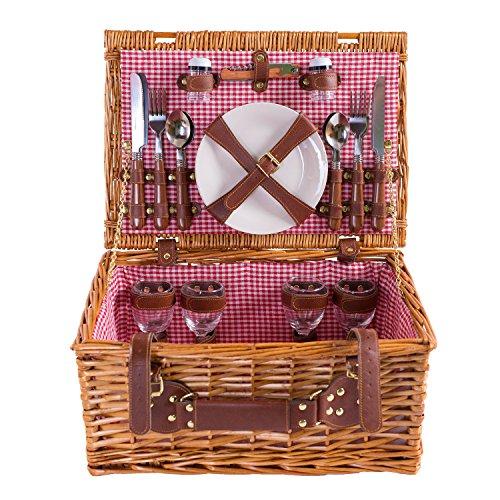 eGenuss LY1801RED Handgefertigtes Picknickkorb mit Porzellan Geschirr für 4 Personen aus Weidenholz Innenfarbe rot