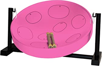 Panyard Jumbie Jam Steel Ready to Play Kit-Pink G-Major with Table Top Stand-Made in USA Authentic Pan, 16-inch (W1086)