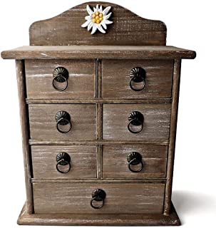$24 » 25DOL Small Wooden Box with Drawers | Jewelry Organizer | Desktop Organizer | Makeup Organizer | Drawer Organizer | Small Decorative Storage Cabinet, Make Your Home Decor Beautiful, Rustic Design