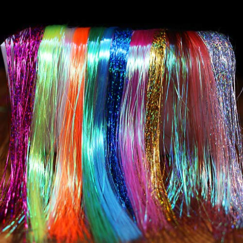 XFISHMAN Fly Tying Materials 12 Colors Krystal Flash Holographic Ripple Flashabou Flies Fishing Lure Making Supplies (3-Holographic Flashabou Set C)