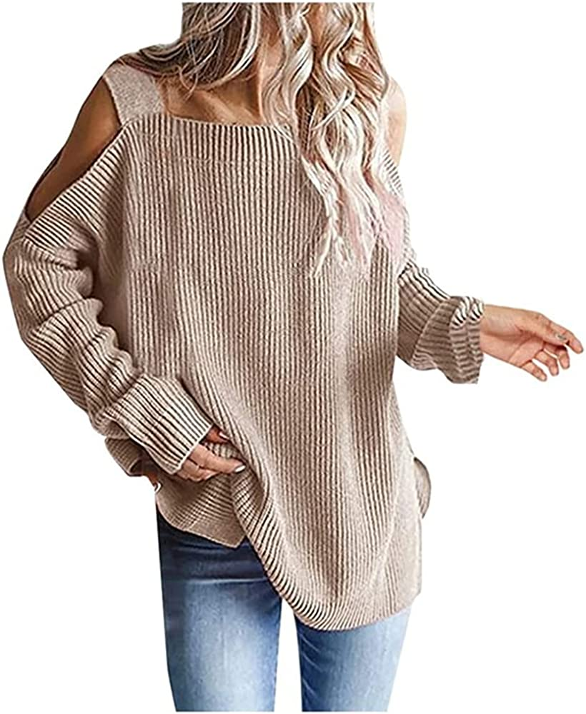 NP Womens Spring Autumn Basic Cold Shoulder Sweaters Long Sleeve Knitted Winter