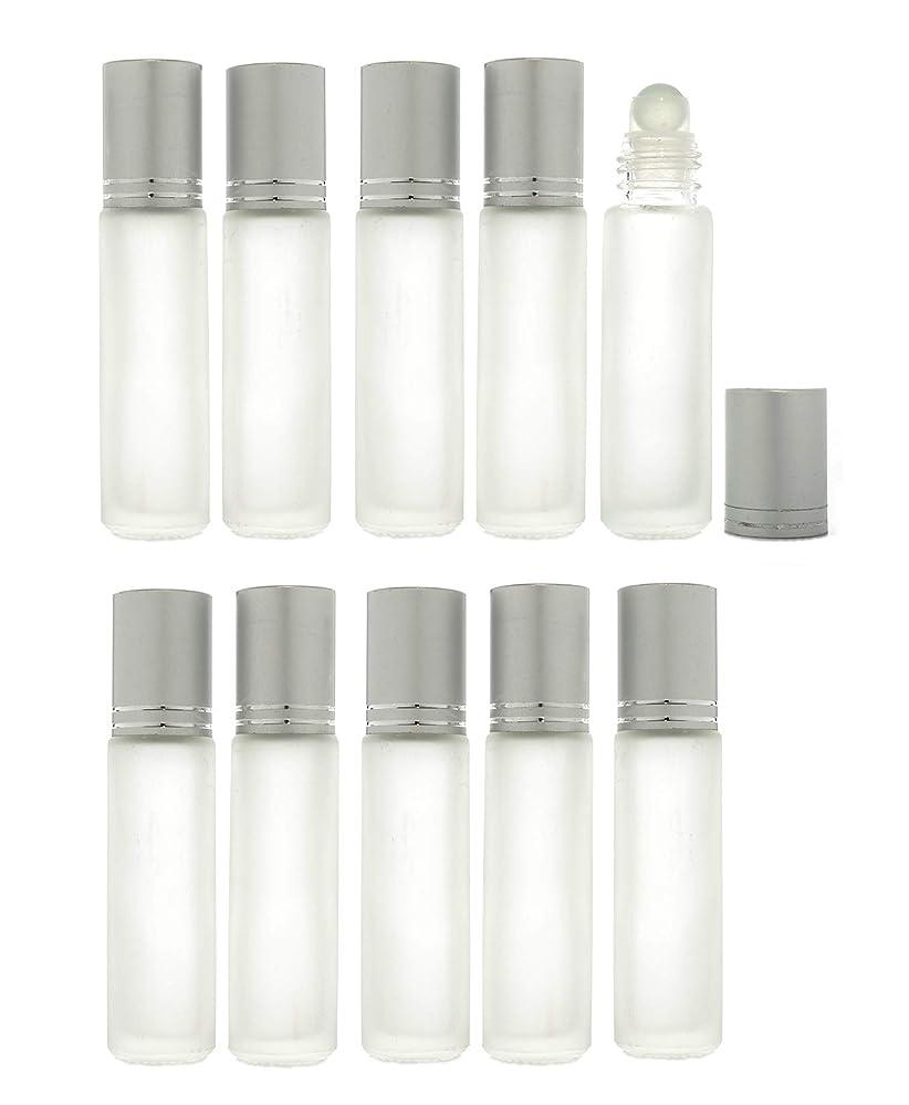 反応する冷凍庫努力Solid Valu ロールオンボトル 10ml 10本セット 遮光瓶 ガラスロール アロマオイル エッセンシャルオイル 擦りガラス 半透明