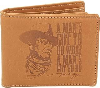 Official John Wayne Men's Tan Bi-fold Wallet