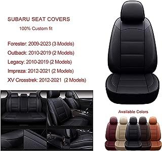 Oasis Auto Custom Fit Leather/Leatherette Seat Cover Compatible with Subaru Impreza, Legacy, Forester, Outback (2017-2021 Impreza/CROSSTREK, Black)