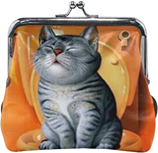 American Bobtail Fat Cat Toilet Shit Funny Vintage Pouch Girl Kiss-lock Change Purse Wallets Buckle Leather Coin Purses Key Woman Printed