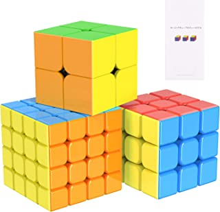 OMEW 立体パズル 3個セット(2×2、3×3、4x4) ルービックキューブ 超詳しい攻略書付き 初心者に向け スピードキューブ 回転スムーズ 競技用キューブ 世界基準配色