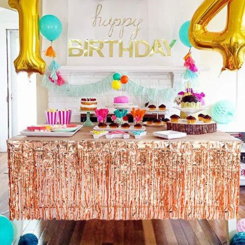 SUNBEAUTY Folie Tischröcke rosé-Gold Tischdeko Geburtstag Hawaiian Party Dekoration (Rose Gold)