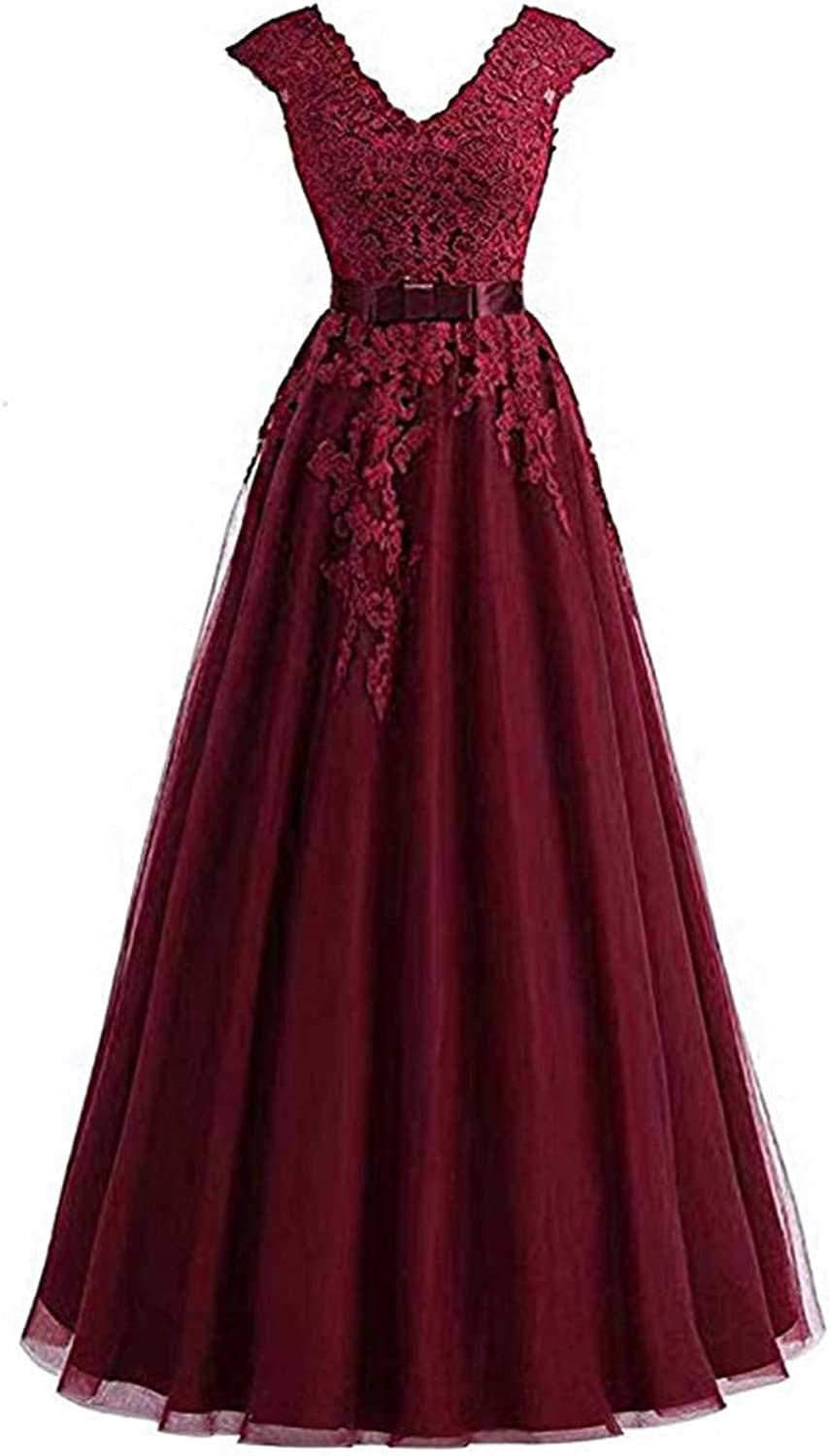 Scarisee Womens VNeck Lace Appliqued Prom Evening Dresses Formal Party GownA254