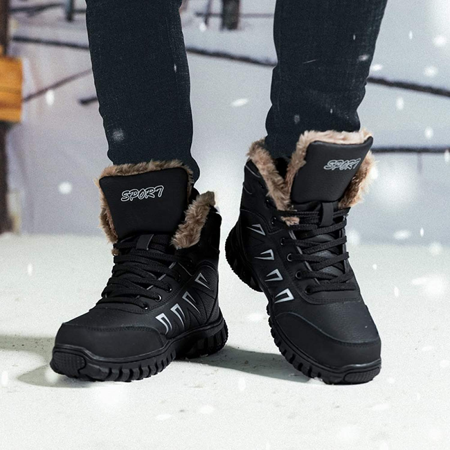 Boots Large Size Men's shoes, Plus Velvet Warm Leather, European and American Men's Casual Snow Hiking, Cotton shoes