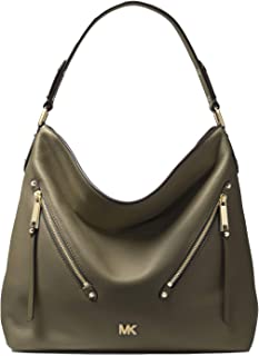 MICHAEL MICHAEL KORS Evie Large Pebbled Leather Shoulder Bag For Women - Olive