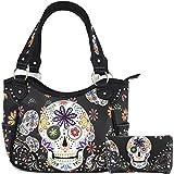 Western Concealed Carry Day of The Dead Sugar Skull Purse Handbag Messenger Shoulder Bag Wallet Set Black