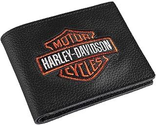 Men's Embroidered Bar & Shield Billfold Wallet, XML4336-ORGBLK