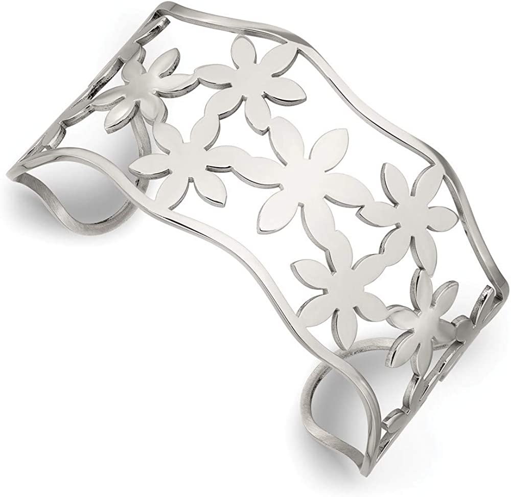 ICE CARATS Stainless Steel Flowers Cuff Bangle Bracelet Expandable Stackable Fashion Jewelry for Women Gifts for Her