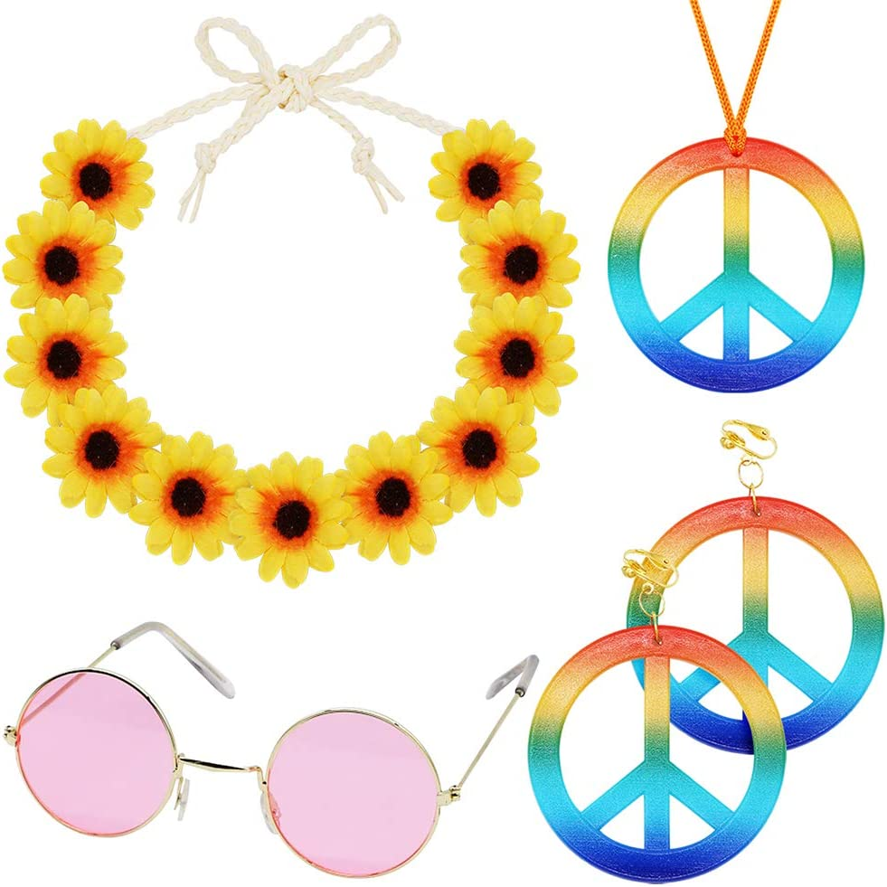 4 Pieces Hippie Costume 2021 model Set Accessories 70s 60s Party 70% OFF Outlet fo