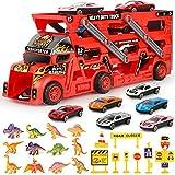Sanlebi Camion Transporteur de Voitures avec 6 Mini Voitures en Métal 12 Dinosaure Jouet de Camion pour Enfant Garçons Filles (Rouge)