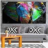 HANSHUIHONG Quadro su Tela Colorato Elefante Africano Quadro su Tela Pittura ad Olio Immagini su Tela Immagini per Soggiorno Camera da Letto Decorazione Domestica 70x140 cm Senza Cornice