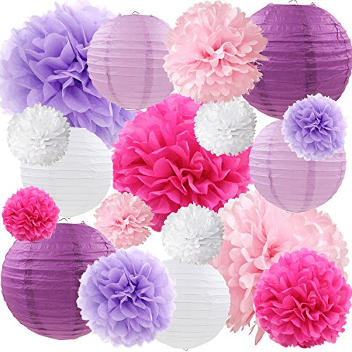 Purple Pink Tissue Paper Flowers Lanterns Decorative Flowers Pom Poms Party Decorations, 18 pcs