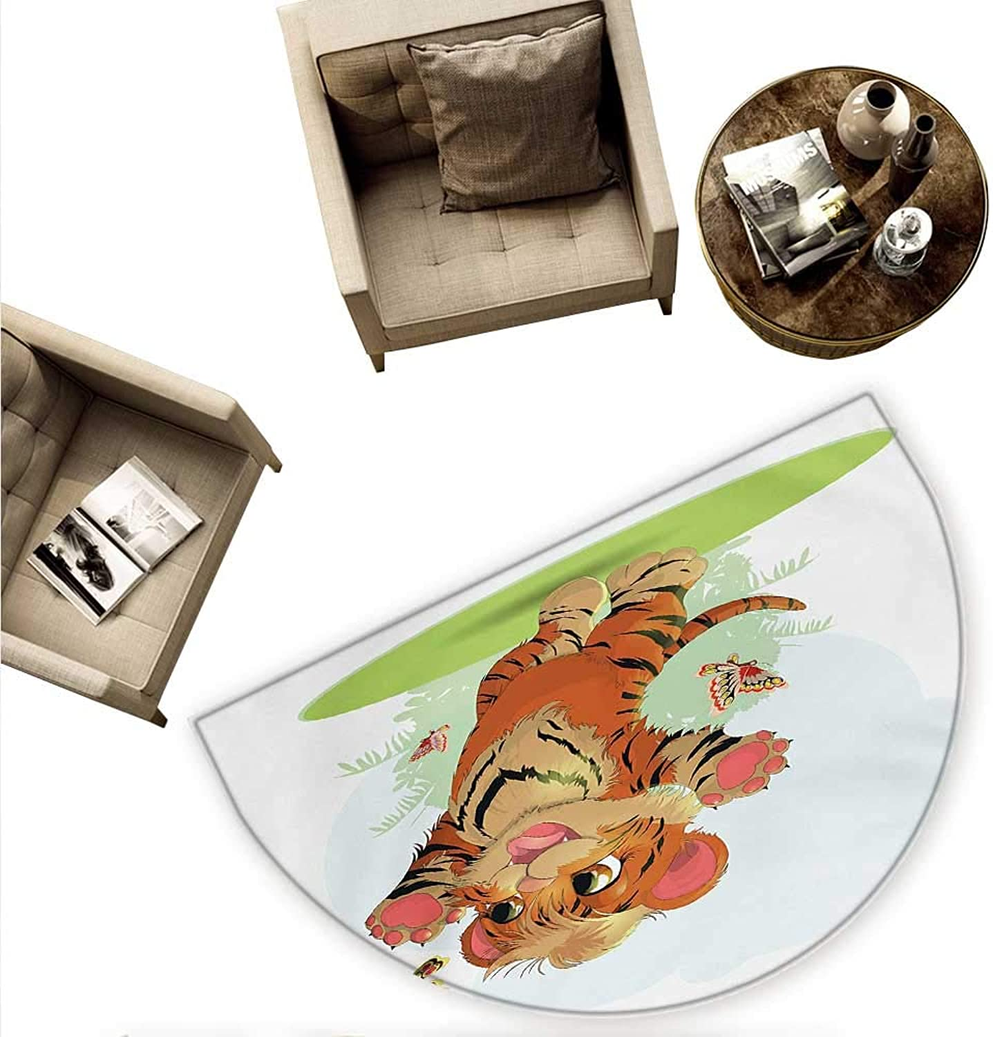 Cartoon Semicircular Cushion Cub Playing with Butterflies in The Meadow Joyful Lively Baby Tiger Cat Entry Door Mat H 74.8  xD 112.2  orange Cream Green