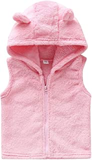 Weixinbuy Kids Baby Girls Zipper-up Winter Warm Fleece Outerwear Vests Hooded Jacket Coat Clothes