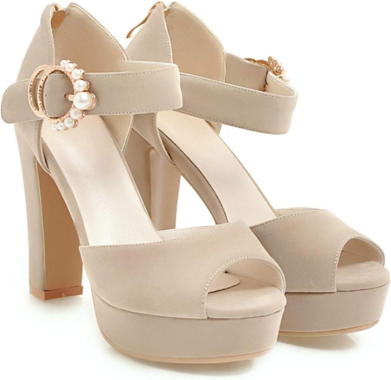 Summer shoes Woman Peep Toe Buckle Elegant Platform Zip Thick Heel Sandals Women High Heels shoes