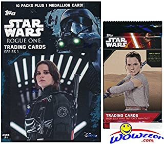 2016 Topps Star Wars Rogue One Series 1 EXCLUSIVE Factory Sealed Retail Box with 10 Packs & VERY SPECIAL MEDALLION Card! Plus SPECIAL BONUS of Topps Star Wars The Force Awakens Foil Pack! Wowzzer!