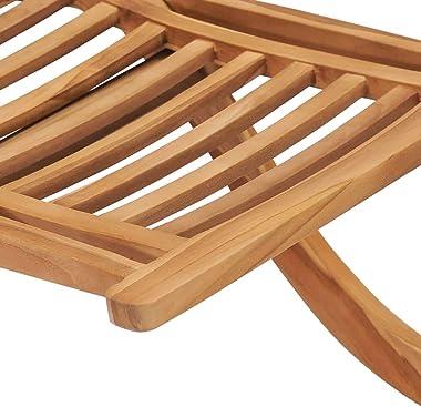 vidaXL Solid Teak Wood Folding Garden Chair Outdoor Seating Furniture Wooden Lounge Seat Patio Backyard Porch Terrace Bench E