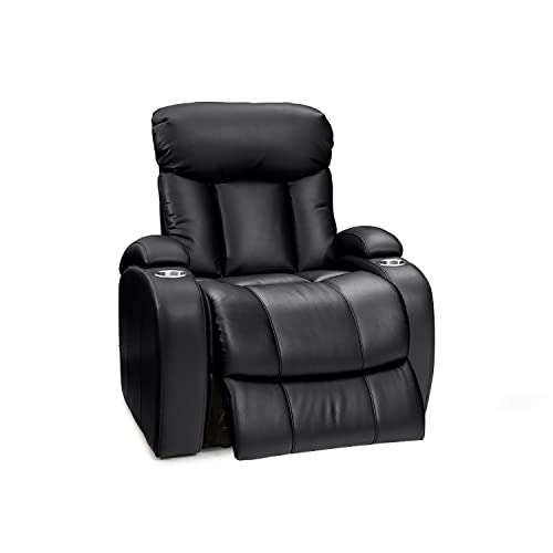 Seatcraft Sausalito Leather Gel Power Home Theater Recliner with In-Arm Storage and USB Charging