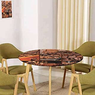 UHOO2018 Brown,Round Tablecloth Decoration Antique Grinder Coffee Beans Non-Fading(Elastic Edged) 39.5