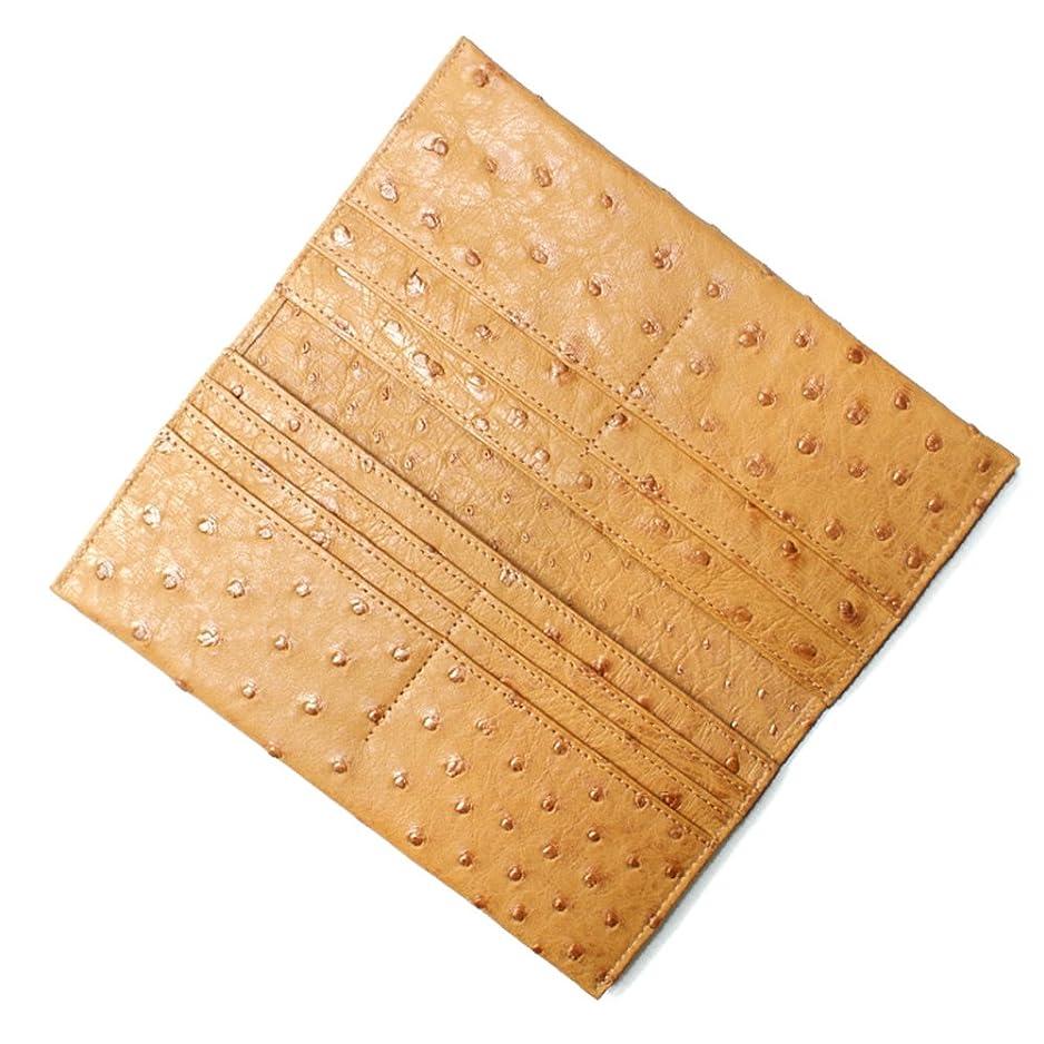 キャップカバレッジ熱狂的なOST1077-CAMEL オーストリッチ革長財布「マチ無し」:キャメル