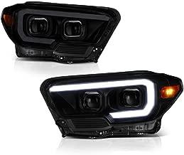 VIPMOTOZ OLED Tube Black Housing Smoke Lens Projector Headlight Headlamp Assembly For 2016-2019 Toyota Tacoma Pickup Truck SR Model, Driver & Passenger Side