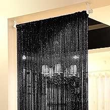 Topixdeals Rare Flat Silver Ribbon Door String Curtain Thread Fringe Window Panel Room Divider Cute Strip Tassel Party Events (1 Pack, Black)