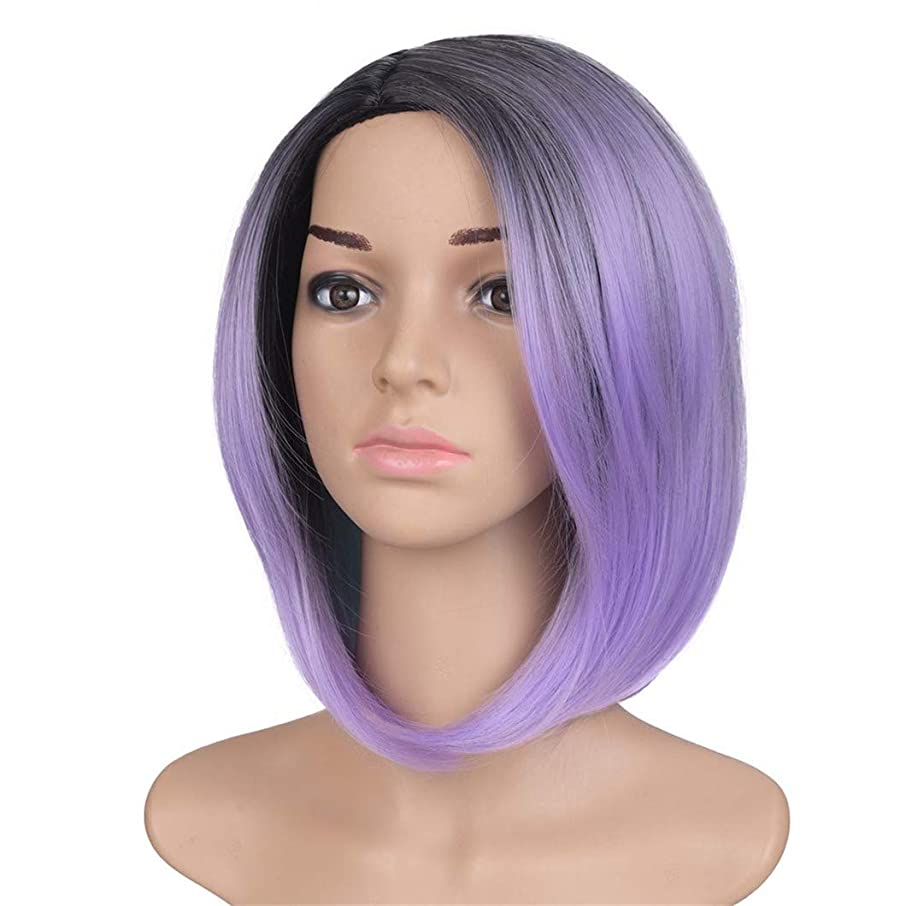 High Temperature Synthetic Straight Short Black Emerald Green Color America Africa Bob Wigs Hair For Black Women Purple 12inches