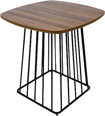 Moncot ET391-WN - Tavolino da salotto moderno con struttura in metallo nero, con piano in legno di noce, stile vintage, per s
