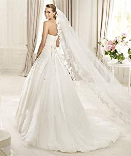 Bridal Veil Lace Edge Soft Tulle 1 Tier 3 Meters Wedding Accessories Long Cathedral Chapel Floor Veils For Bride Lady With...