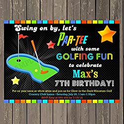 Best mini golf party invitations kids will love minature golf invitation golf birthday party invitation neon look minature golf invite putt putt party filmwisefo