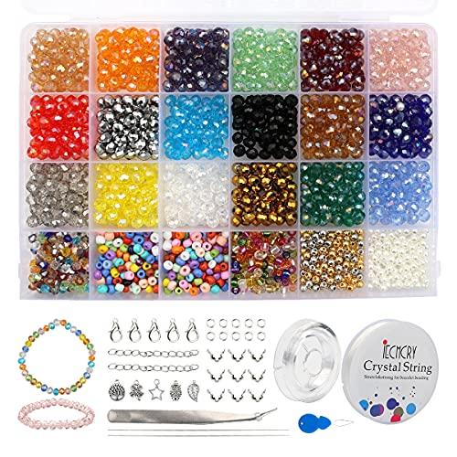 Mengxin 1350 Pezzi Perline Cristallo Colorate 6mm Perline Vetro Sfaccettate Perle per Bigiotteria Fai da te per Braccialetti, Collane, Gioielli Regalo per Donne Ragazze