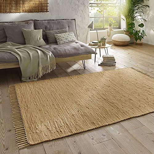 Taracarpet Handwebteppich Läufer Fleckerl Teppich Uni waschbar aus Baumwolle für Wohnzimmer und Küchenteppich 120x180 cm beige