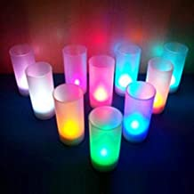 1 Pack 7-Color Flameless Switch Candle LED Night Light W/Cup Mood Christmas Lights Baby Lamp Majestic Fashionable Unicorn Star Bulbs Wall Room Lamps Indoor Outdoor Holiday Decorative