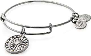 Alex and Ani Women's Cosmic Balance II Bangle Midnight Silver Bracelet, Midnight Silver, Expandable