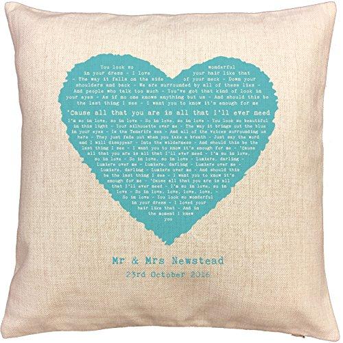 Not Just A Print Ed Sheeran Tenerife mar canción palabras/letras de canciones cojín–Ideal algodón 2nd aniversario regalo–con tu propia personalización