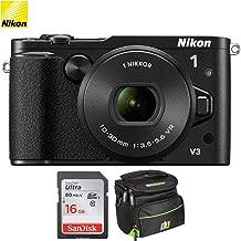 Nikon 1 V3 Mirrorless 18.4MP Digital Camera with 10-30mm Lens - Black (Renewed) with 16GB Bundle Includes, Sandisk Ultra SDHC 16GB Memory Card + Camera Bag for Digital Cameras