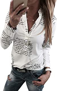 Womens Casual Letter Printing Loose Long Sleeve Blouse Gold Button Shirts Tops