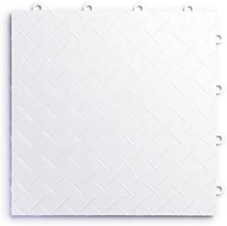 RaceDeck Diamond Plate Design, Durable Interlocking Modular Garage Flooring Tile (24 Pack), White