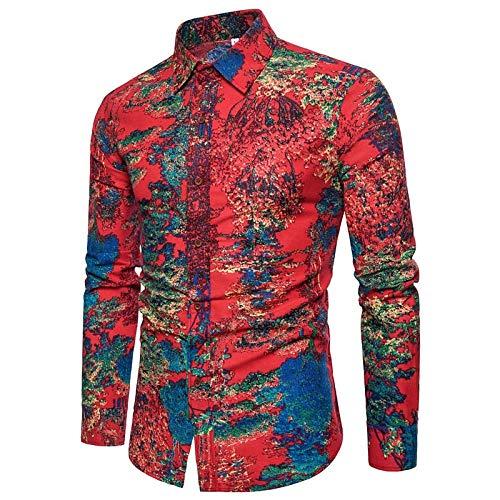 IYFBXl Boho Plus Size Linnen Slim Shirt voor heren - Abstract Print Spread Collar/Lange mouw