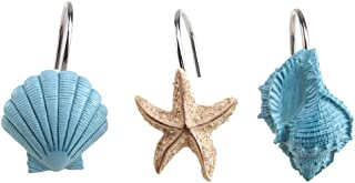 AGPTEK Shower Curtain Hooks, 12PCS Anti Rust Decorative Resin Hooks for Bathroom, Baby Room, Bedroom, Living Room Decor (Blue Seashell)