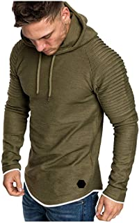 Mens Pullover Shirt Casual Sweatshirt Long Sleeve 2019 Autumn Winter Sportshirts with Hat Drawstring Blouse