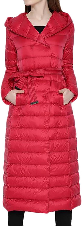 Pandapang Women's Fashion Lightweight Puffer Belt Long Hooded Down Coats