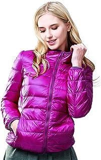 QCHENG Women's Package Down Jacket Hooded Ultra Light Weight Short Down Coat Puffer Coat